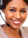 Female support line operator with headset