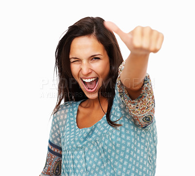 Buy stock photo Woman gives thumb up against white background