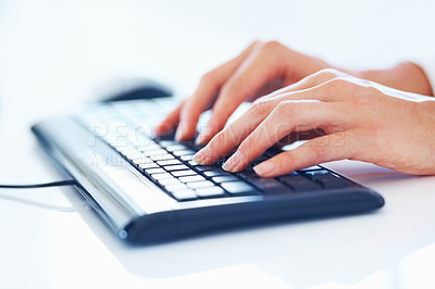 Buy stock photo Closeup portrait of woman's hands typing on computer keyboard