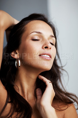 Buy stock photo Closeup portrait of a hot young female model posing