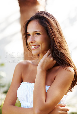 Buy stock photo Portrait of a cute young female looking away in thought in a park - Outdoor
