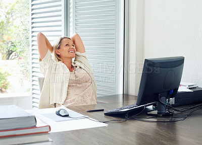 Buy stock photo Portrait of a mature female in happy thoughts at work desk
