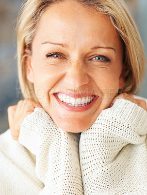 Buy stock photo Closeup of a cute Caucasian woman giving you a friendly smile