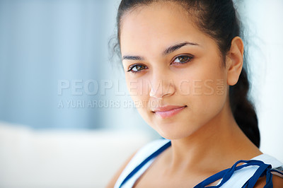 Buy stock photo Closeup portrait cute Indian woman looking at you with a attitude - Copyspace
