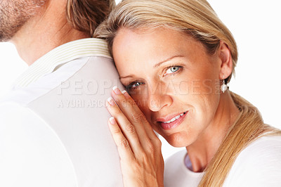 Buy stock photo Closeup portrait of a sweet mature woman leaning to a man's back