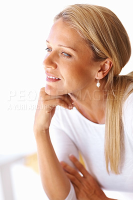 Buy stock photo Portrait of a beautiful mature woman contemplating over something with hand on chin