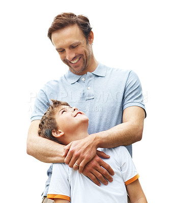 Buy stock photo Portrait of a caring father standing with his cute son outdoor