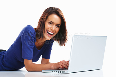 Buy stock photo Portrait of a cheerful adorable casual woman on floor with laptop