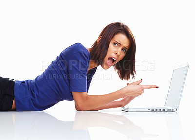 Buy stock photo U think this is right! - Shocked college girl angry with her laptop
