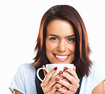 Closeup of an attractive female holding coffee cup and smiling