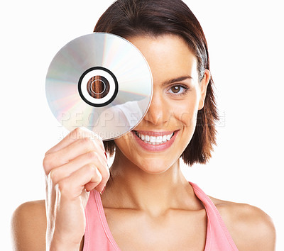Buy stock photo Portrait of a beautiful woman on white background holding CD