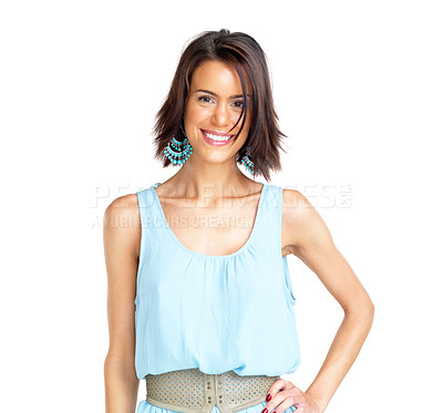 Buy stock photo Portrait of a happy young woman standing and smiling aginst white background