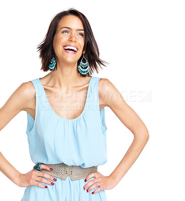 Buy stock photo Portrait of a laughing young woman looking away against white background