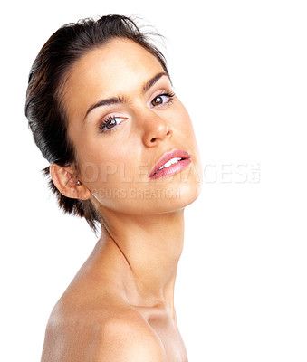 Buy stock photo Portrait of a beautiful young woman isolated on white background