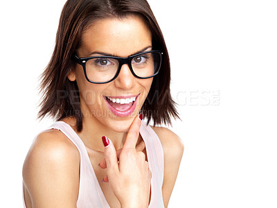 Buy stock photo Portrait of a smiling young woman wearing glasses against against white background