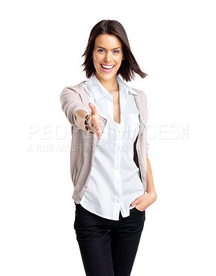 Buy stock photo Portrait of a happy young woman offering a handshake against white background