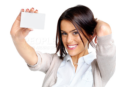 Buy stock photo Portrait of a happy young female showing a blank bussiness card  against white background