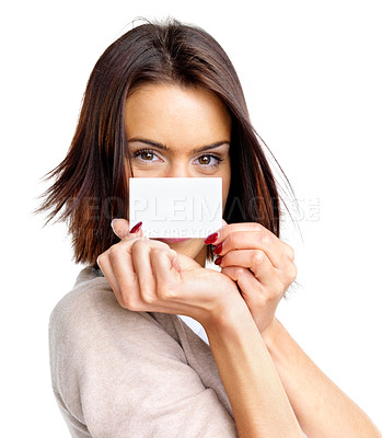 Buy stock photo Portrait of an pretty young woman showing  blank business card against white background