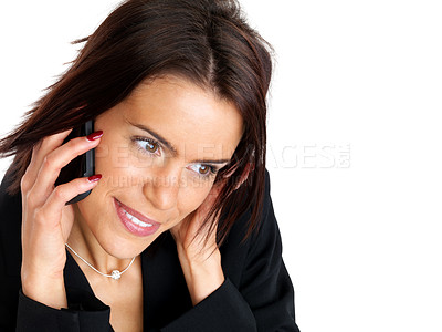 Buy stock photo Closeup portrait of a beautiful young woman with cellphone against white background