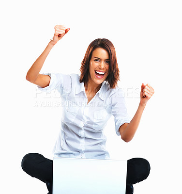 Buy stock photo Excited young woman with laptop cheering with hands raised against white background
