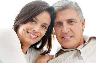 Buy stock photo Closeup portrait of a happy mature couple looking at you