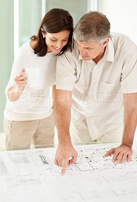 Buy stock photo Portrait of a mature man showing his wife plan of new house