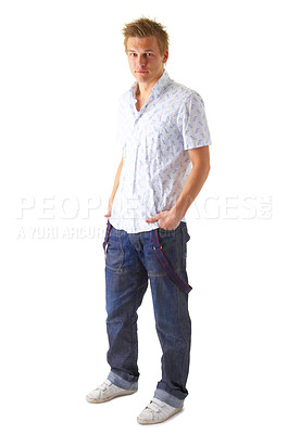 Buy stock photo Portrait of a casual young satisfied man. Isolated on white.