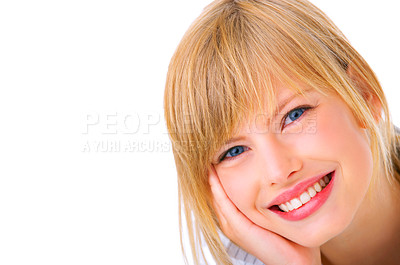 Buy stock photo Portrait of a beautiful laughing young female student, taken in our studio.