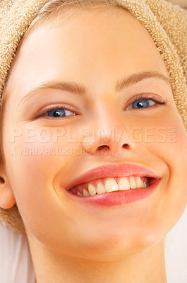 Buy stock photo Portrait of a young woman relaxing at a spa