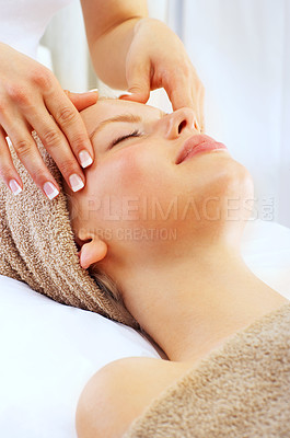 Buy stock photo Closeup shot of an attractive blonde woman getting a head message