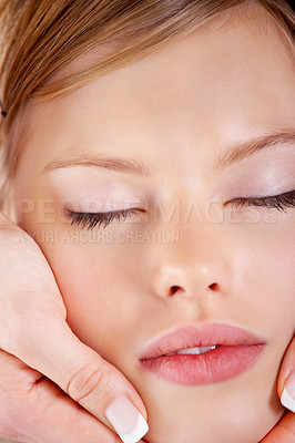 Buy stock photo Young woman receiving massage, extreme close-up