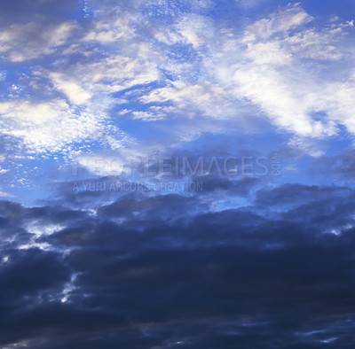 Buy stock photo Picture of a blue sky with clouds. Warning of a storm to arrive.