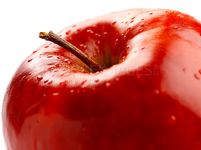 Buy stock photo Shoot of an isolated red apple from above