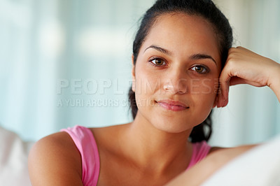 Buy stock photo Closeup portrait of a lovely young female looking at you