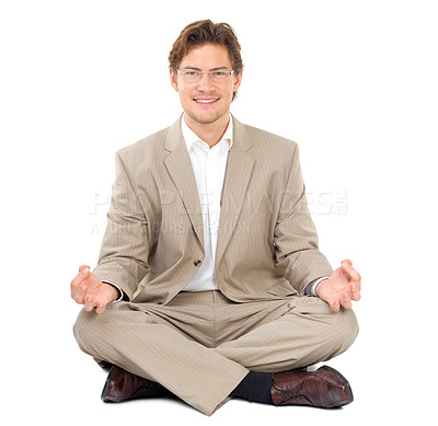 Buy stock photo Portrait of a cheerful businessman sitting in lotus position