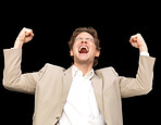 Businessman with celebrating with arms up