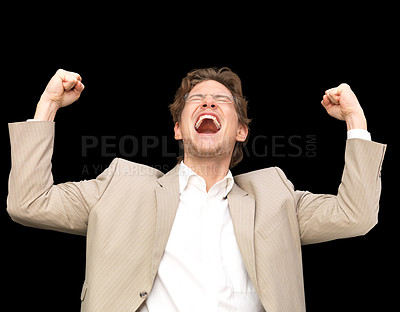 Buy stock photo Laughing businessman with arms raised, celebrating something.