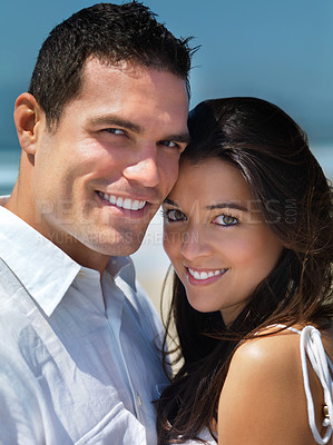 Buy stock photo Close up portrait of a young smiling couple in love