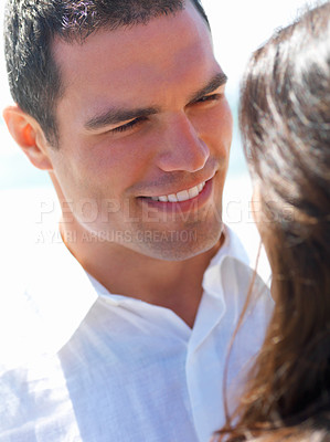 Buy stock photo Close up of a happy young couple in love