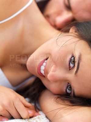 Buy stock photo Close up portrait of a happy young woman relaxing