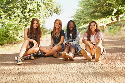 Buy stock photo A group of friends spending time together during the Summer holidays