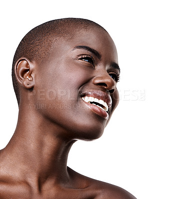 Buy stock photo Low angle shot of a beautiful young african woman isolated on white