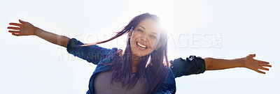 Buy stock photo Portrait of an attractive young woman celebrating the day outside
