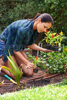 Buy stock photo Shot of an attractive young woman working in the garden
