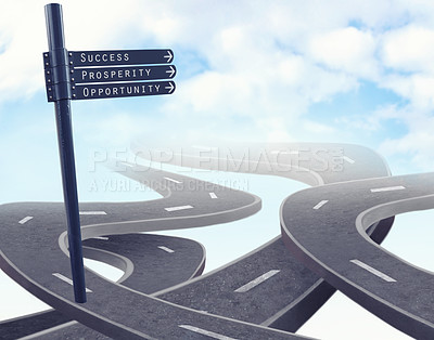 Buy stock photo Illustration of winding roads leading to the sky with signs leading the way - ALL design on this image is created from scratch by Yuri Arcurs'  team of professionals for this particular photo shoot