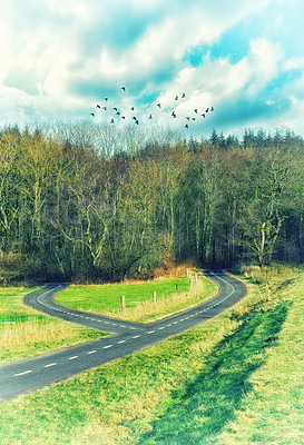 Buy stock photo Shot of a road split in two with both leading to a forest