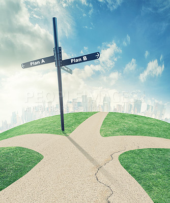 Buy stock photo Illustration of a road split into directions leading to different plans