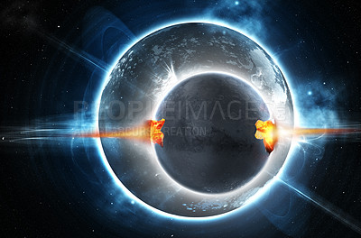 Buy stock photo Shot of a moon orbiting a planet experiencing a sudden catastrophic event- ALL design on this image is created from scratch by Yuri Arcurs'  team of professionals for this particular photo shoot