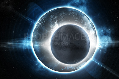 Buy stock photo Lunar eclipse of a cold barren-looking world