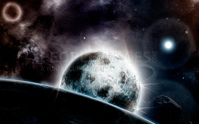 Buy stock photo Shot of a planet's moons orbiting through vast space- ALL design on this image is created from scratch by Yuri Arcurs'  team of professionals for this particular photo shoot
